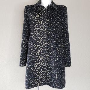 LOFT | Animal Leopard Button Down Pea Coat XL